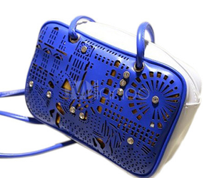 bag, blue, and leather image