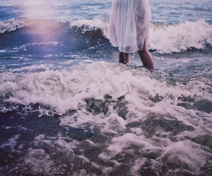 beach, water, and dress image
