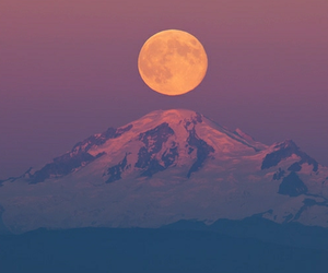 beautiful, moon, and mountain image