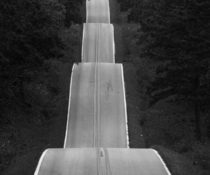 road, black and white, and photography image