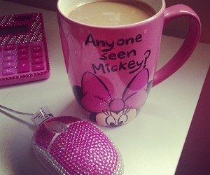 pink, mickey, and coffee image