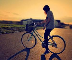 girl, bike, and sunset image