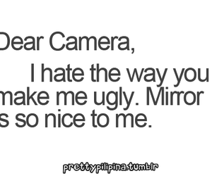 camera, mirror, and text image