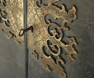 door, key, and gold image