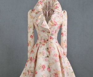 coat, floral, and retro image