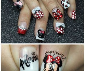 minnie, nails, and black image