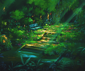 anime, bench, and forest image