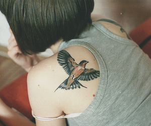tattoo, girl, and bird image