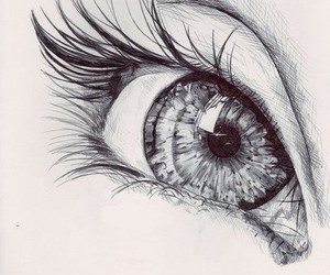 black and white, draw, and eye image