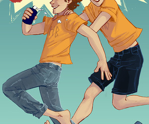 percy jackson, stolls, and travis stoll image