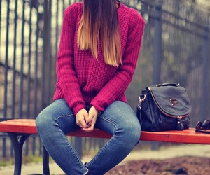 ankle boots, bag, and burgundy image