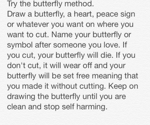 butterfly, cutting, and scars image