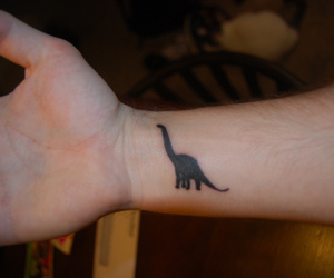 tattoo, dinosaur, and hand image