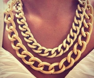 gold, necklace, and chain image