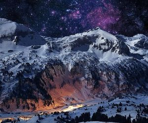 cool, galaxy, and mountain image
