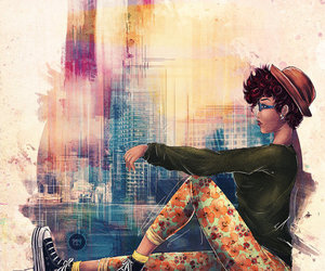 city, sneakers, and art image