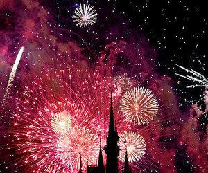 fireworks, disney, and pink image