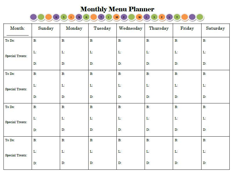 Monthly Menu Template Word from data.whicdn.com