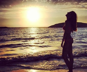 sun, beauty, and girl image