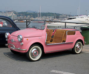 beach, car, and pink image