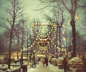 lights, snow, and christmas image