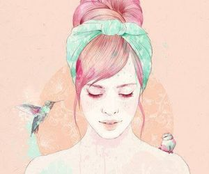 girl, bird, and drawing image