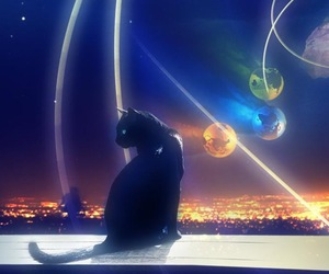 cat, night sky, and planet image