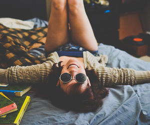 girl, hipster, and sunglasses image