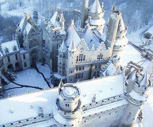 castle, snow, and winter image