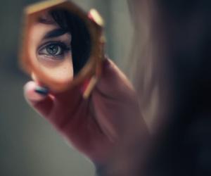 mirror, girl, and eye image