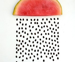 watermelon, rain, and fruit image