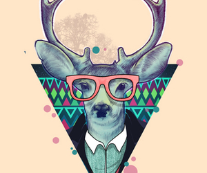 deer, hipster, and glasses image