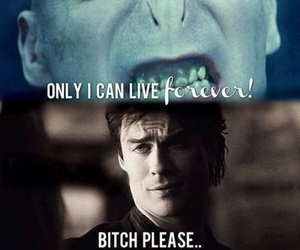 damon salvatore, forever, and voldemort image