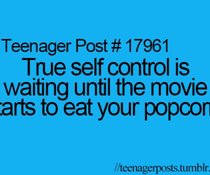 popcorn, movie, and self control image
