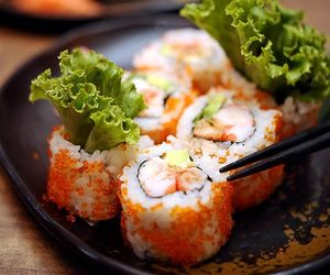 food, sushi, and california roll image