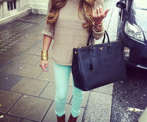 bag, outfit, and blonde image