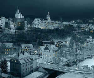 snow, night, and city image