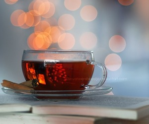 tea, book, and light image