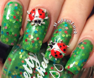 green, red, and nail image