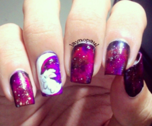 bunny, galaxy, and nail image