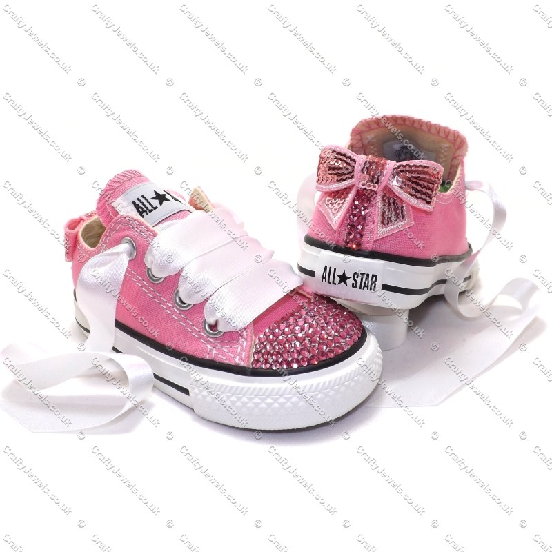 1d5d664b3ccf Crystal Kids Lo Top Converse In Pink With Pink Crystals