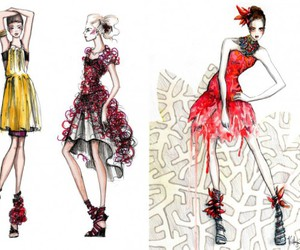 croquis, dresses, and fashion image