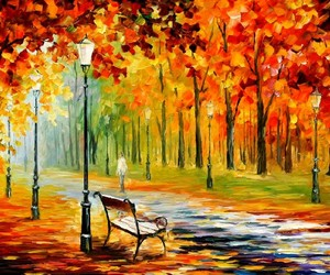 trees, autumn, and art image