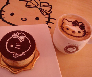 hello kitty, coffee, and cake image