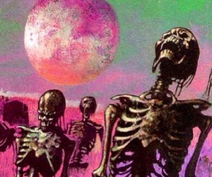 skeleton, moon, and pink image