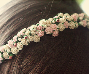 flowers, hair, and rose image