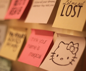 hello kitty, post-it, and postit image