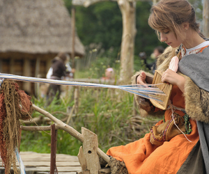 girl, viking, and weaving image