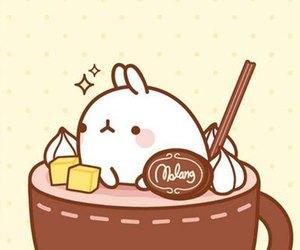 bunny, molang, and coffee image