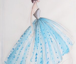 art, blue dress, and drawing image